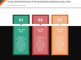Three Tags Infographics For Business Agenda Analysis Powerpoint Slides