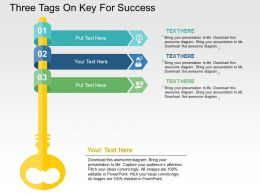 Three Tags On Key For Success Flat Powerpoint Design