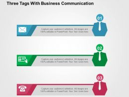 Three Tags With Business Communication Flat Powerpoint Design