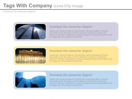 Three Tags With Company Icons City Image Powerpoint Slide