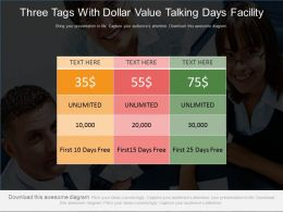 Three Tags With Dollar Values Talktime Days Facility Powerpoint Slides