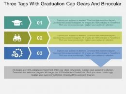 Three Tags With Graduation Cap Gears And Binocular Flat Powerpoint Design