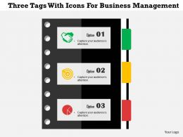 Three Tags With Icons For Business Management Flat Powerpoint Design