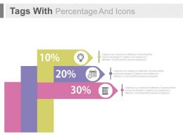 Three Tags With Percentage And Icons Powerpoint Slides