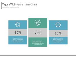 Three Tags With Percentage Chart And Icons Powerpoint Slides