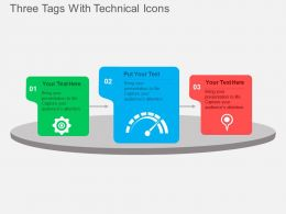 Three Tags With Technical Icons Flat Powerpoint Design