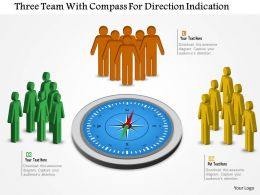 Three Teams With Compass For Direction Indication Flat Powerpoint Design
