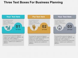 Three Text Boxes For Business Planning Flat Powerpoint Design