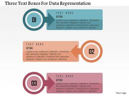 Three Text Boxes For Data Representation Flat Powerpoint Design