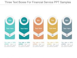 Three Text Boxes For Financial Service Ppt Samples
