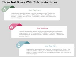 Three Text Boxes With Ribbons And Icons Flat Powerpoint Design