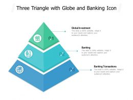 Three Triangle With Globe And Banking Icon