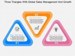 Three Triangles With Global Sales Management And Growth Flat Powerpoint Design