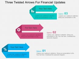 Three Twisted Arrows For Financial Updates Flat Powerpoint Design