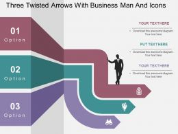 Three Twisted Arrows With Business Man And Icons Flat Powerpoint Design