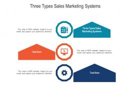 Three Types Sales Marketing Systems Ppt Powerpoint Presentation Gallery Master Slide Cpb
