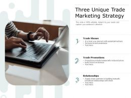 Three Unique Trade Marketing Strategy