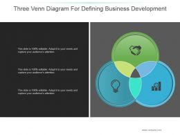 Three Venn Diagram For Defining Business Development Ppt Sample