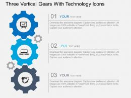 Three Verical Gears With Technology Icons Flat Powerpoint Design