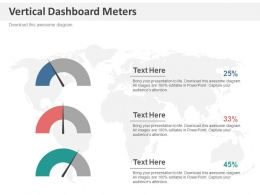 Three Vertical Dashboard Meters For Business Analysis Powerpoint Slides