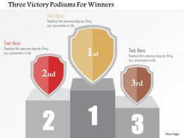 Three Victory Podiums For Winners Flat Powerpoint Design