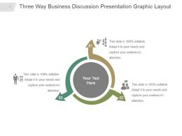 Three Way Business Discussion Presentation Graphic Layout