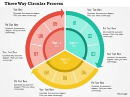 Three Way Circular Process Flat Powerpoint Design