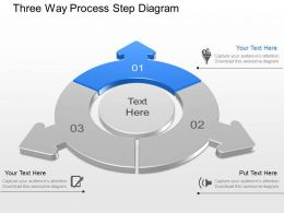 Three Way Process Step Diagram Powerpoint Template Slide