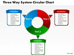 three way system circular chart powerpoint templates graphics slides 0712