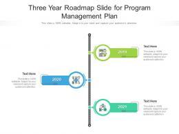 Three Year Roadmap Slide For Program Management Plan Infographic Template