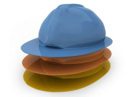 Three Yellow Orange Blue Engineering Hats On White Background Stock Photo