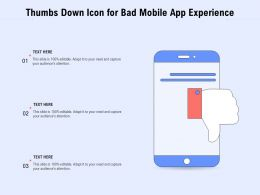 Thumbs Down Icon For Bad Mobile App Experience