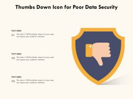 Thumbs Down Icon For Poor Data Security
