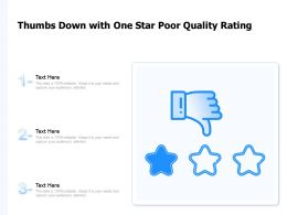 Thumbs Down With One Star Poor Quality Rating