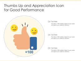 Thumbs Up And Appreciation Icon For Good Performance