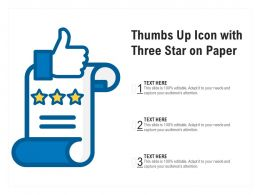 Thumbs Up Icon With Three Star On Paper