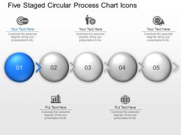 Ti Five Staged Circular Process Chart Icons Powerpoint Template Slide