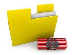 Time Bomb With Yellow Folder Stock Photo