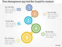 Time Management App And Bar Graph For Analysis Flat Powerpoint Design