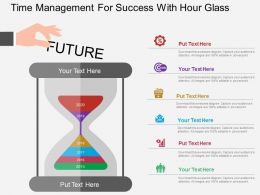 Time Management For Success With Hour Glass Flat Powerpoint Design
