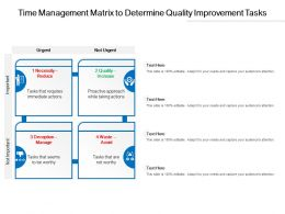 Time Management Matrix To Determine Quality Improvement Tasks