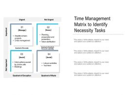 Time Management Matrix To Identify Necessity Tasks