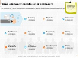 Time Management Skills For Managers Ppt Powerpoint Presentation Visual Aids