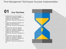 Time Management Techniques Success Implementation Flat Powerpoint Design