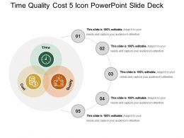 Time Quality Cost 5 Icon Powerpoint Slide Deck