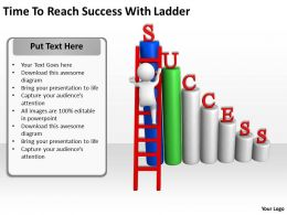 Time To Reach Success With Ladder Ppt Graphics Icons Powerpoint