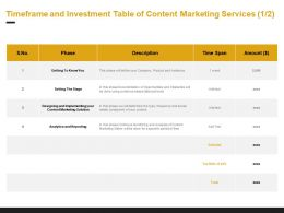 Timeframe And Investment Table Of Content Marketing Services Analytics Ppt Powerpoint Presentation Pictures