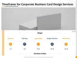 Timeframe For Corporate Business Card Design Services Ppt Powerpoint Gallery Slides