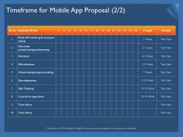 Timeframe For Mobile App Proposal Branding Ppt Powerpoint Presentation Gallery Maker