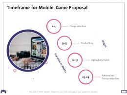 Timeframe For Mobile Game Proposal Post Production Ppt Powerpoint Presentation Show